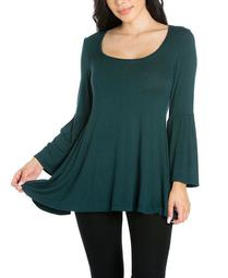 Women's Plus Long Bell Sleeve Flared Tunic Top