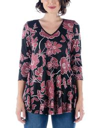 Women's Plus Mauve Floral Print V-Neck Flared Tunic Top