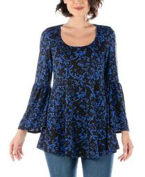 Women's Plus Floral Print Bell Sleeve Tunic Top