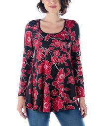 Women's Plus Floral Long Sleeve Scoop Neck Swing Top