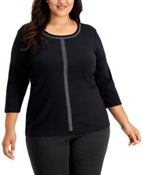 Plus Size Runway Dazzle Embellished Scoop-Neck Top, Created for Macy's