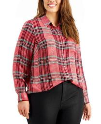 Plus Size Plaid Sparkle Top, Created for Macy's