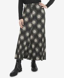 Women's Plus Size Mono Scatter Heart Jersey Pull On Skirt
