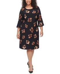 Plus Size Bell-Sleeve Dress