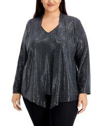 Plus Size Metallic Layered-Look Sweater