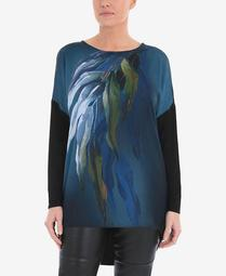 Women's Plus Size Digital Placement Print Floral Top