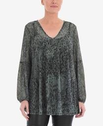 Women's Plus Size Mesh Blouse with Blouson Sleeve