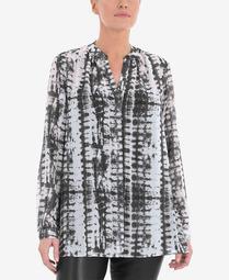 Women's Plus Size Tie Dye Gathered Neck Blouse