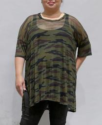 Women's Plus Size Camouflage Mesh Dolman Top