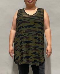 Women's Plus Size Camouflage Mesh V-Neck Tank Top