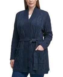 Plus Size Soft Lurex Cable Cozy Cardigan