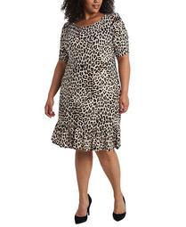 Plus Size Animal-Print Flounce-Hem Shift Dress