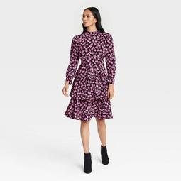 Women's Floral Print Puff Long Sleeve Dress - Who What Wear™