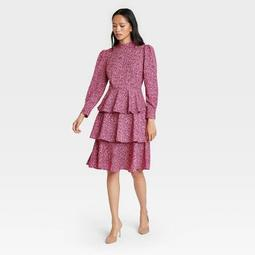 Women's Leopard Print Puff Long Sleeve A-Line Dress - Who What Wear™ Pink