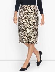 Jacquard Shimmer Leopard Print Pencil Skirt