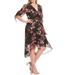 Plus Size Floral Print Chiffon 3/4 Sleeve Hi-Low Faux Wrap Midi Dress