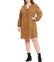 Plus Size Brushed Rib Notch V-Neck Long Sleeve Dress