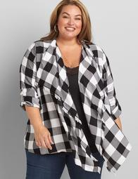 Convertible-Sleeve Plaid Overpiece