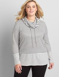Striped Cowl-Neck Pullover Top
