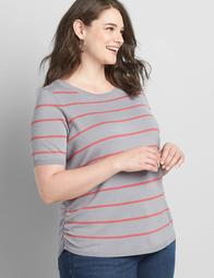 Striped Ruched Side Pullover Sweater