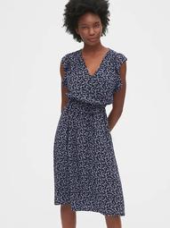 Ruffled Sleeve Midi Dress