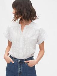 Shirred Popover Shirt