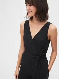 Sleeveless Wrap-Front Jumpsuit in Linen-Cotton