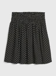 Smocked Print Skirt