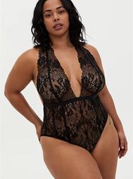 Black Chantilly Lace Strappy Halter Bodysuit