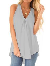 Women Sleeveless T Shirt Blouse Summer V neck Plain Cami Tee Casual Losse Blouse Chiffon Vest Tank Tops Shirt Plus Size S-5XL