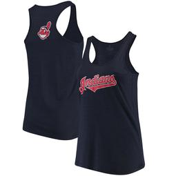 Cleveland Indians Soft as a Grape Women's Plus Size Swing for the Fences Racerback Tank Top - Navy