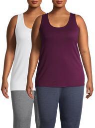 Terra & Sky Women's Plus Size Everyday Essential Tunic Length Layering Tank, 2-Pack Bundle