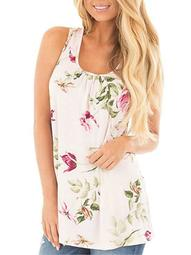 Sleeveless Tank Top for Womens Fashion U Neck Floral Tops Tee Vest Camisole Plus Size Blouse S-5XL