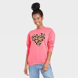 Women's Leopard Print Heart Graphic Sweatshirt - Rose