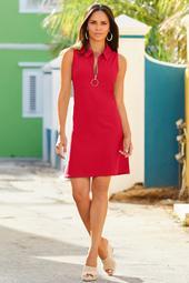 Sleeveless Collared Zip Dress