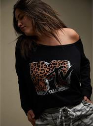 MTV Leopard & Black Terry Off Shoulder Sweatshirt
