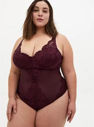 Burgundy Purple Mesh & Lace Underwire Thong Bodysuit