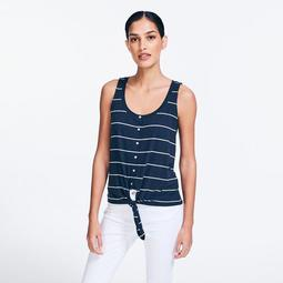 STRIPED TIE-FRONT BUTTON SLEEVELESS TOP