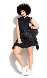 Luxe Hoodie Dress - navy
