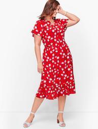 Plus Size Exclusive Flounce Hem A-Line Dress - Floral