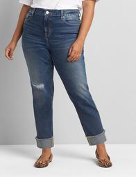Signature Fit High-Rise Girlfriend Straight Jean - Ripped Medium Wash