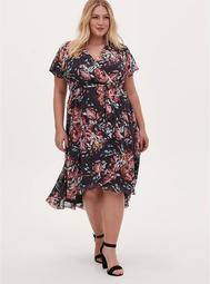 Faux Wrap Dress - Swiss Dot Floral Dark Grey