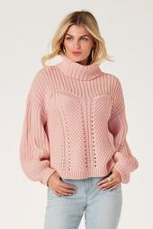 Shaker Stitch Detail Turtleneck Sweater