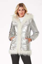 Hooded Metallic Faux-Fur Puffer Coat