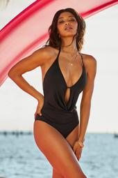 Drape-Front Plunge One-Piece Swimsuit