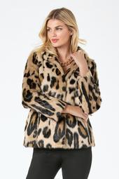 Leopard Print Faux-Fur Coat