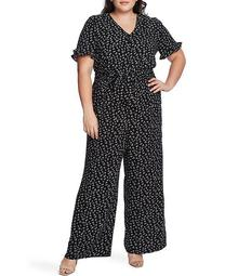 Plus Size V-Neck Short Sleeve Floral Wide Leg Jumpsuit