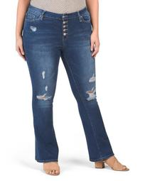Plus Flare Jeans With Exposed Buttons