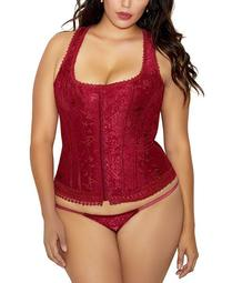 Women's Plus Size 2 Piece Brocade Hook and Eye Racer Back Corset and Panty Set