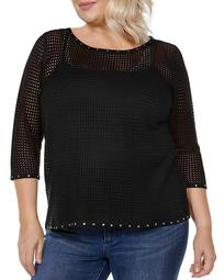 Embellished Pointelle Sweater